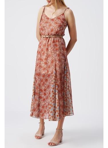 Random Kadın ince Askılı Desenli Elbise Kahve